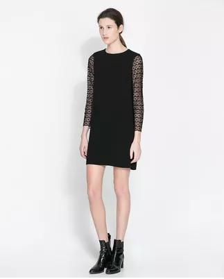 **พรีออเดอร์** ชุดเดรสผู้หญิงแฟชั่นยุโรปใหม่ แขนยาว ลูกไม้ แบบเก๋ เท่ห์ / **Preorder** New European Fashion Lace Stitching Round Neck Long-Sleeved Dress