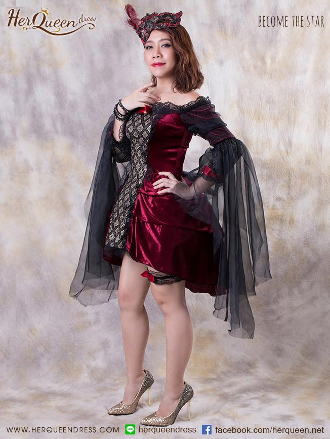 เช่าชุดแฟนซี &#x2665 ชุดแฟนซี ชุดวิคตอเรีย ฮาโลวีน พร้อมหน้ากาก ผ้ากำมะหยี่ - สีแดงเลือดหมู