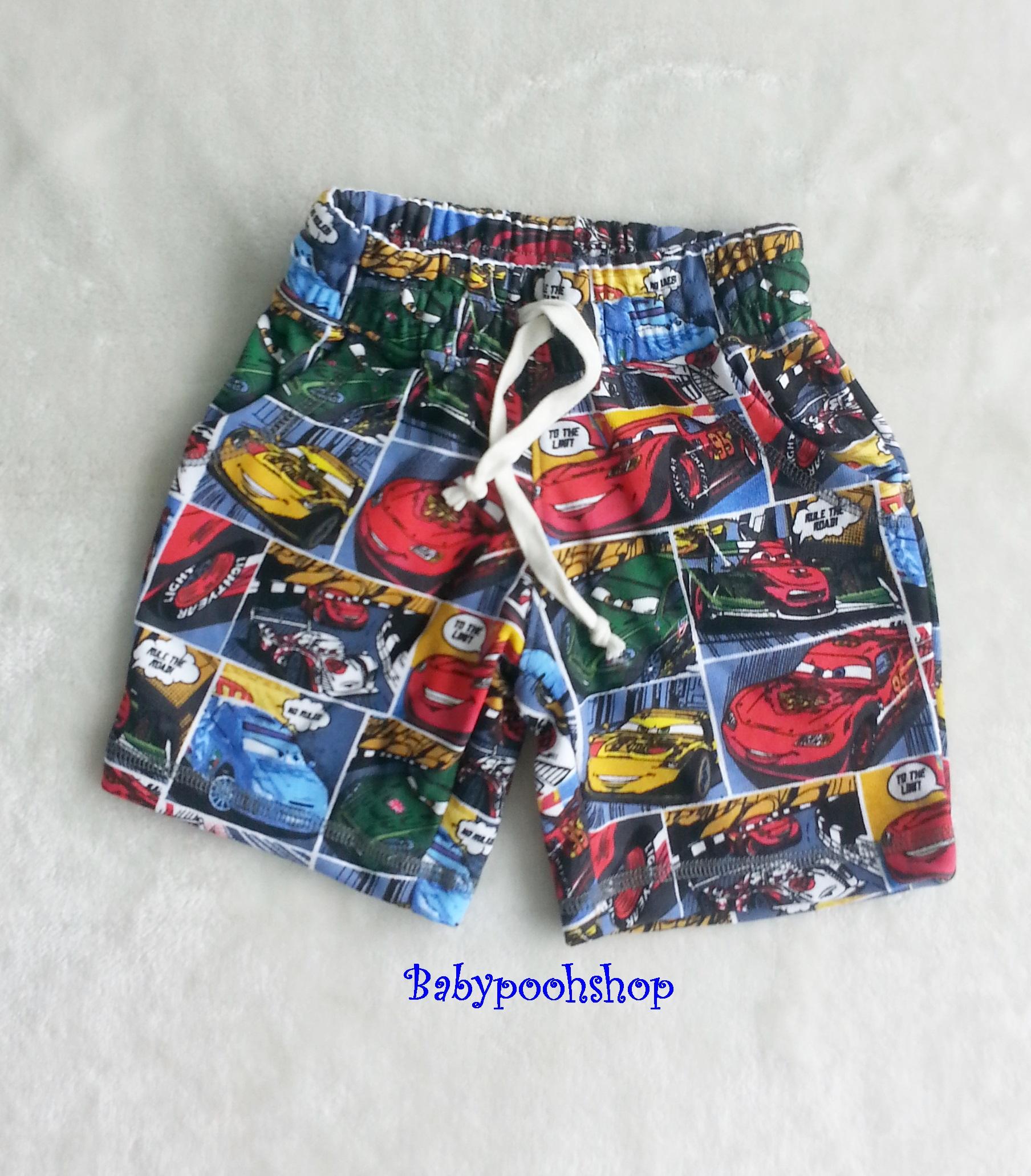 H&M : กางเกงขาสั้นผ้ายืด ลาย Car เชือกผูกรูดเอวได้ size : 1.5-2y / 4-6y