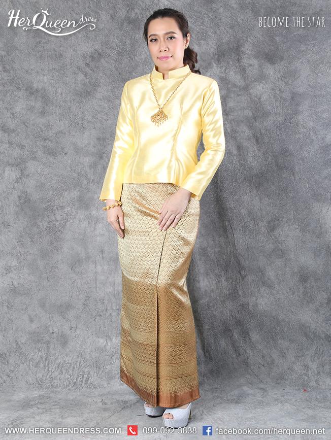 เช่าชุดไทย &#x2665 ชุดไทยบรมพิมาน - สีเหลือง ผ้าซิ่นสีเหลืองไพล