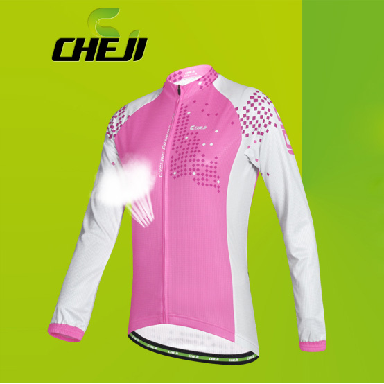 เสื้อจักรยานผู้หญิงแขนยาว CheJi สีขาวชมพู สั่งจอง (Pre-order)