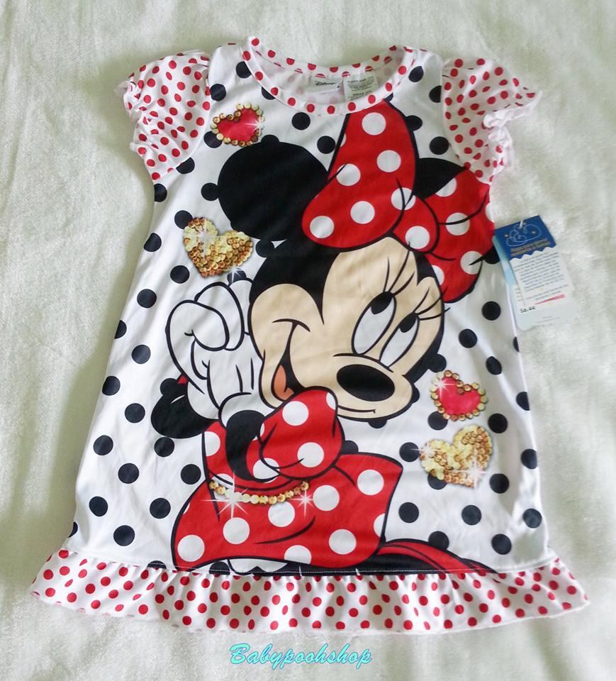 Disney : ชุดนอนลายมินนี่ สีขาว ผ้ามัน ลื่น size 12m