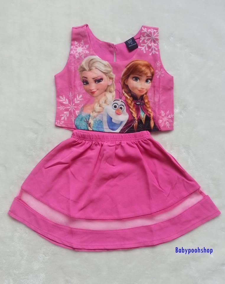 Gap Kids : Set เสื้อ + กระโปรง พิมพ์ลาย Frozen สีชมพู Size : 2y / 8y / 9y / 12y / 14y