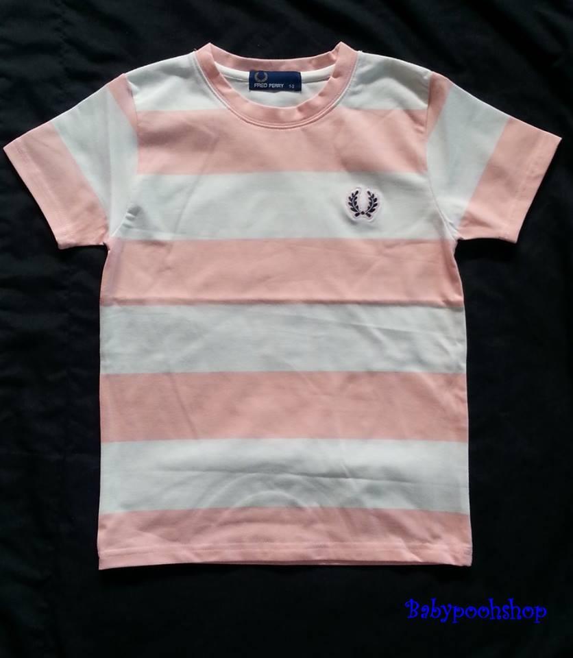 เสื้อยืดเนื้อดี ลายขวาง สีขาวสลับสีชมพูอ่อน size : 1-2y / 2-4y