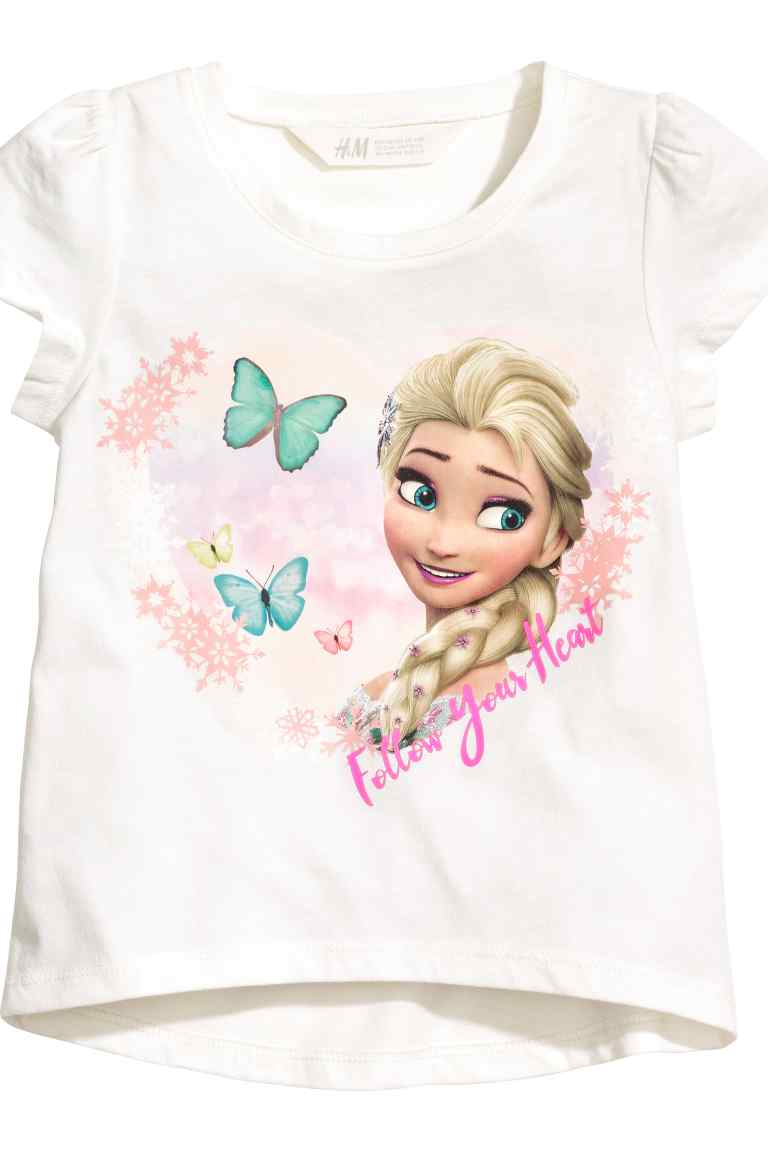 H&M : เสื้อยืด สกรีนลาย เจ้าหญิง Frozen สีขาว (งานช้อป) size : 1-2y