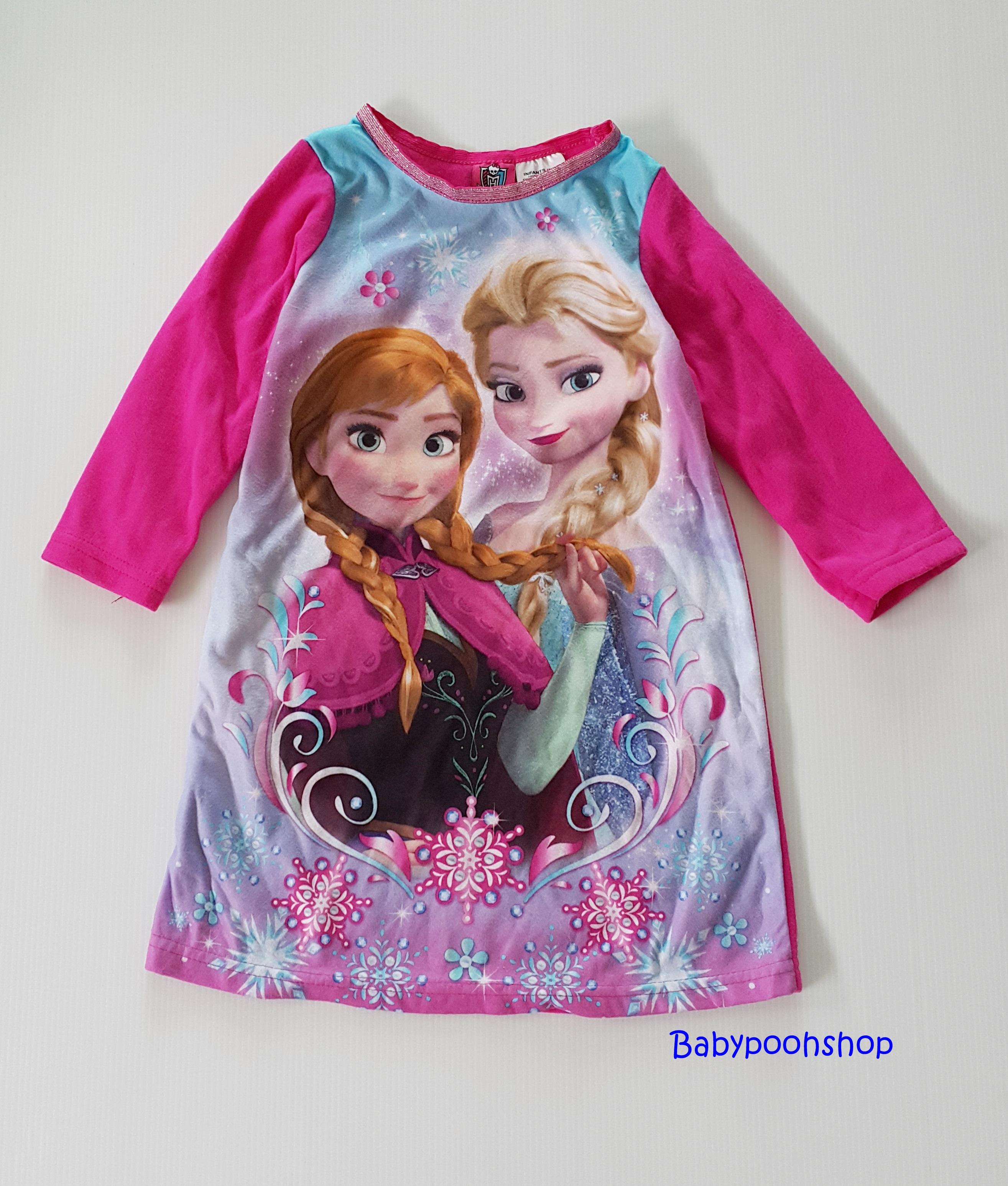 Disney : ชุดนอนแขนยาว ผ้าสำลี พิมพ์ลายเจ้าหญิงแอนนา เอลซ่า สีชมพูเข้ม size : 12m / 24m