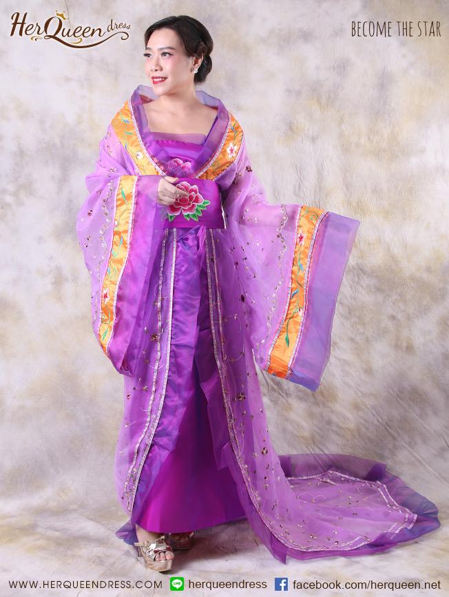 เช่าชุดแฟนซี &#x2665 ชุดแฟนซี ชุดแม่นาง ชุดนางสนมจีน - สีม่วง