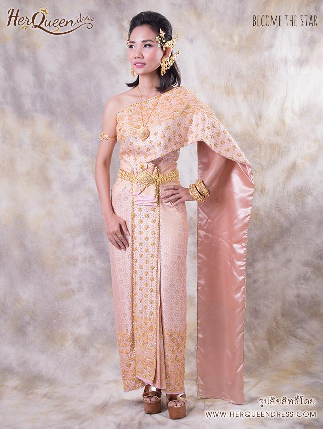 เช่าชุดไทย &#x2665 ชุดไทย สีชมพูตุ่น โอโรส สไตล์โบราณ