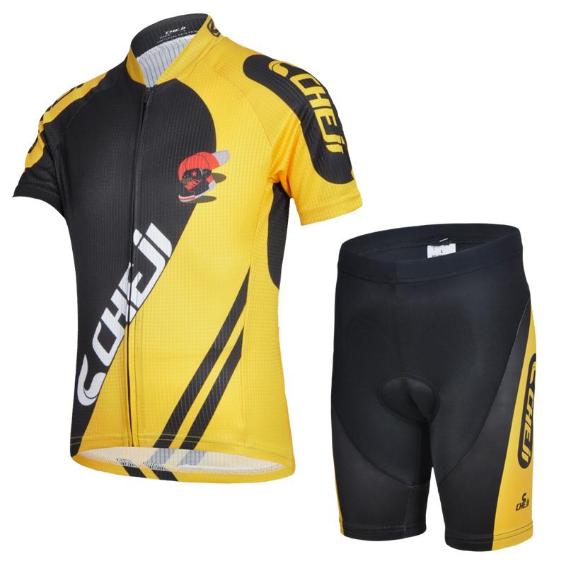 ชุดจักรยานเด็กแขนสั้นขาสั้น CheJi สีเหลืองดำ