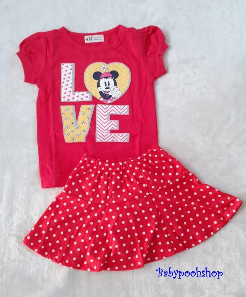 H&M : Set เสื้อ+กระโปรง มินนี่ สีชมพูแดง (กระโปรงมีกางเกงข้างใน) size 1-2y / 2-3y / 6-7y