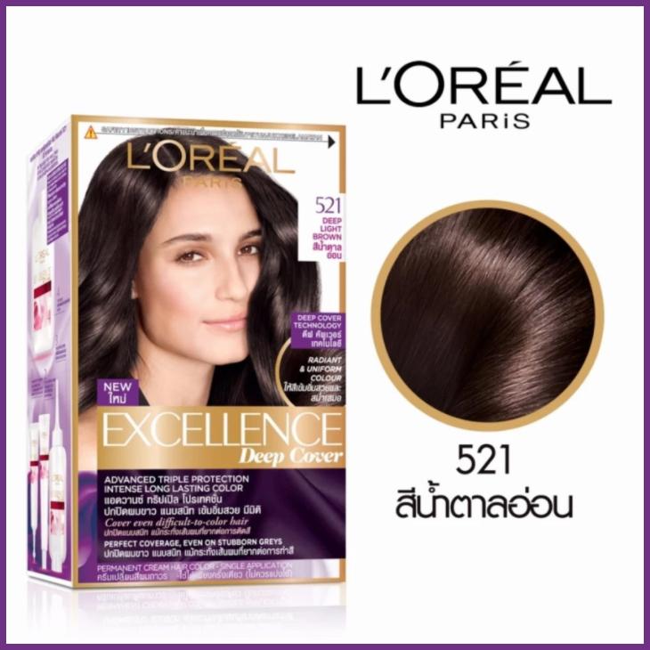ลอรีอัล ปารีส เอกซ์เซลเล้นซ์ ดีฟ คัพเวอร์ 521 สีน้ำตาลอ่อน L'OREAL PARIS EXCELLENCE DEEP COVER 521 DEEP LIGHT BROWN สำเนา
