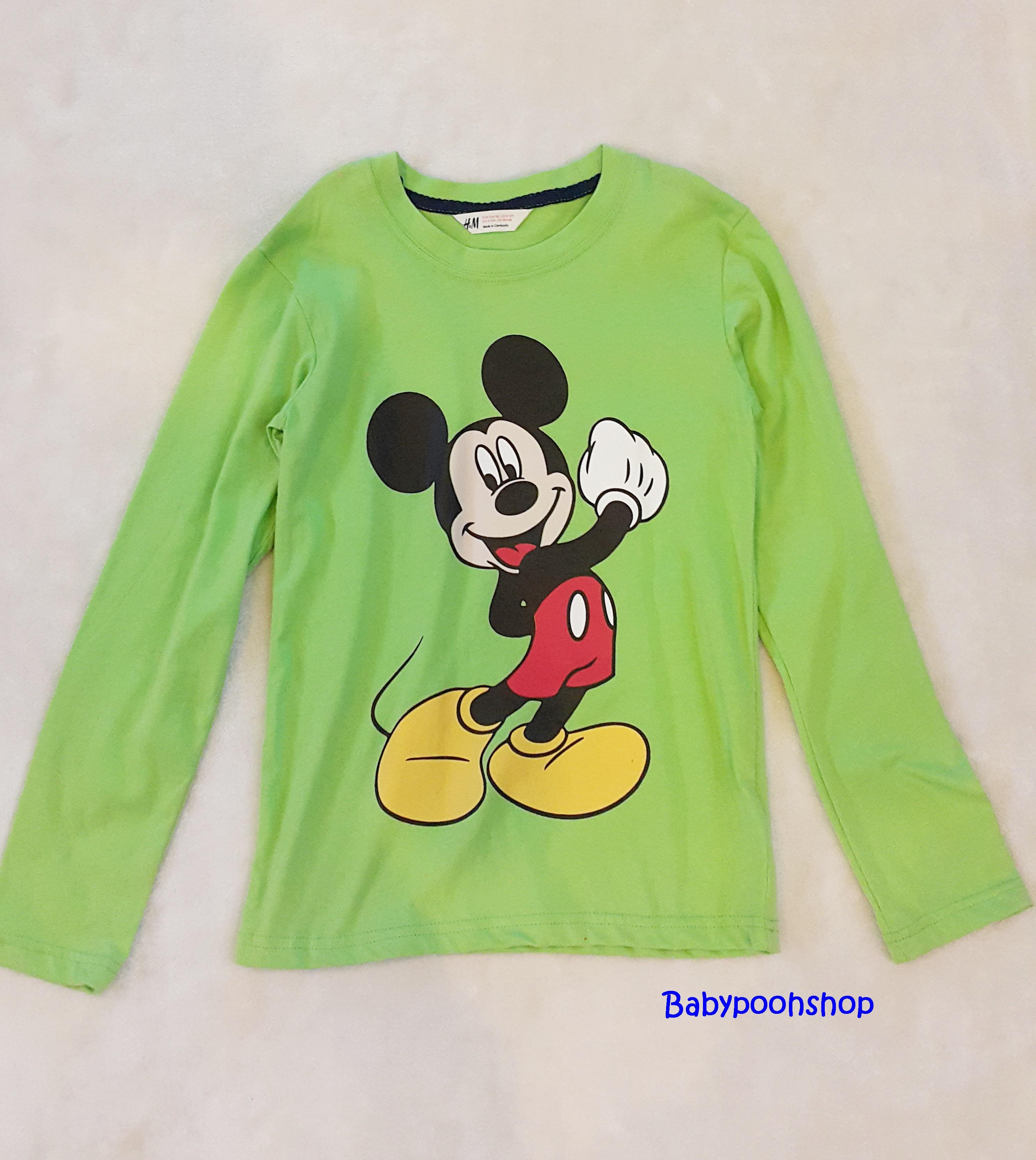H&M : เสื้อยืดสกรีนลายมิกกี้เมาส์ แขนยาว สีเขียว size 8-10y