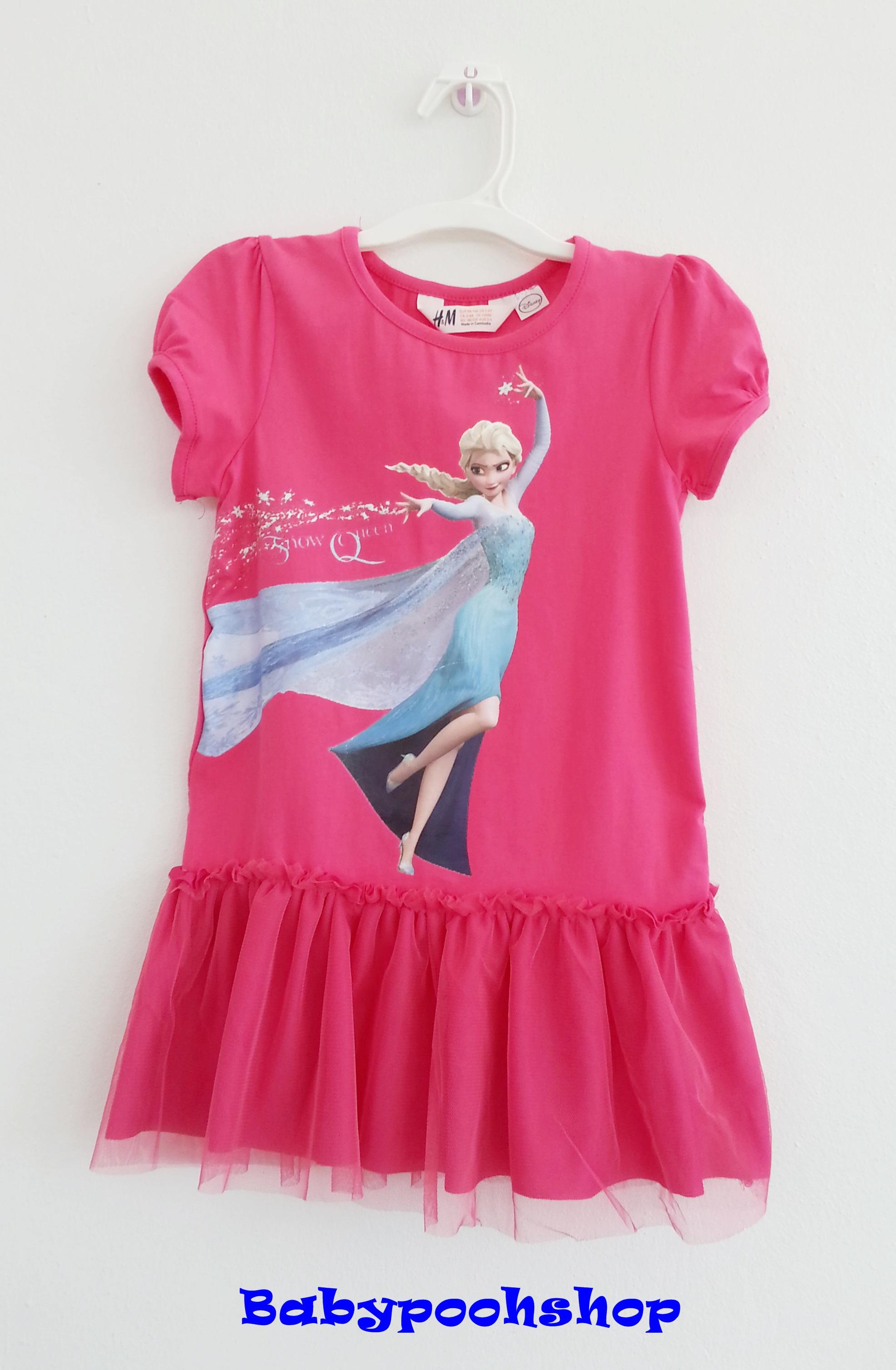 H&M : เดรส สกรีนลาย เจ้าหญิง Elsa กระโปรงระบาย สีชมพูเข้ม size 12-14y