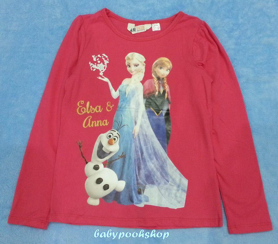 H&M : เสื้อยืดแขนยาว ลาย Elsa&Anna สีชมพูเข้ม size : 1-2y / 12-14y