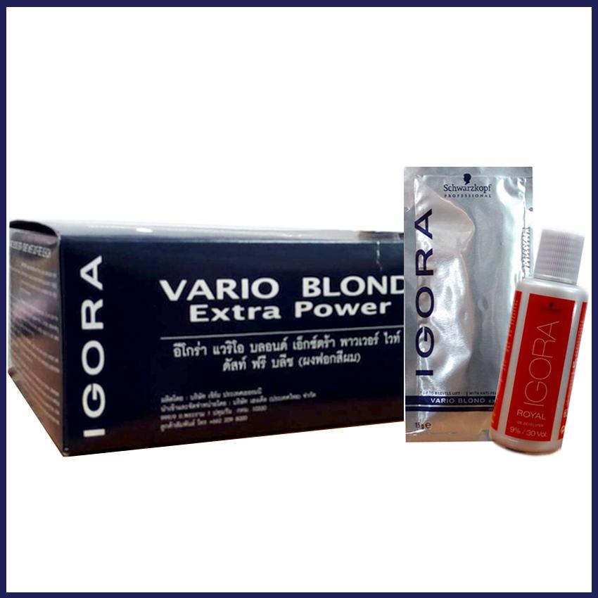 อีโกร่า แวริโอ บลอนด์ เอ็กซ์ตร้า พาวเวอร์ ไวท์ คัสท์ ฟรี บลิซ (ผงฟอกสีผม) 15 g.x24ซอง(แบบกล่อง) + คัลเลอริส คัลเลอร์ แอนด์ แคร์ ดีเวลลอปเปอร์ 9% 60 ml.