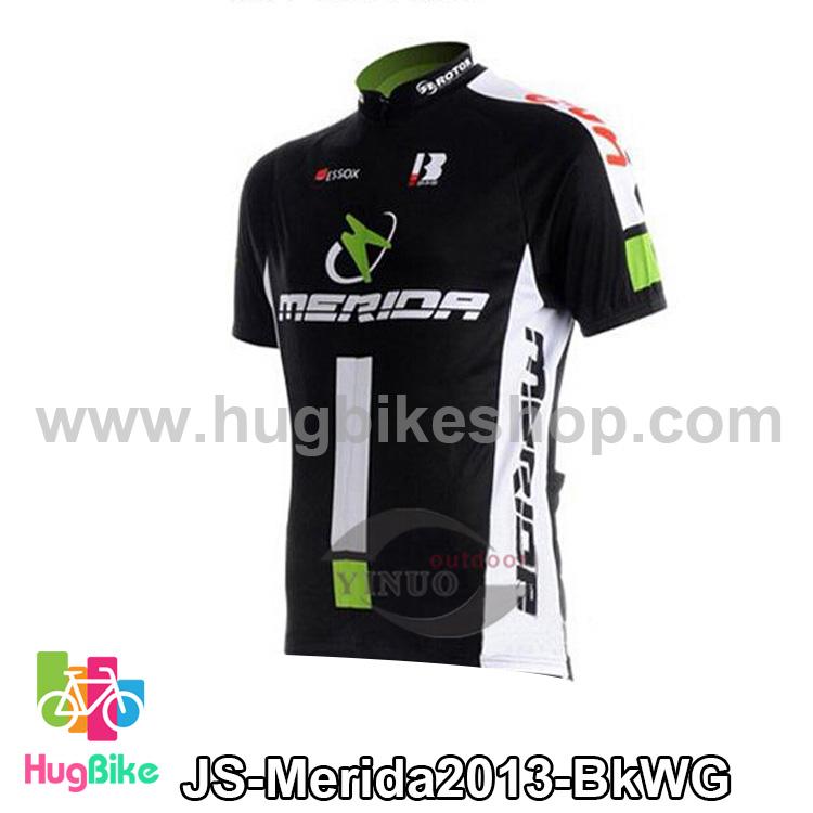 เสื้อจักรยานแขนสั้นทีม Merida 2013 สีดำขาวเขียว สั่งจอง (Pre-order)