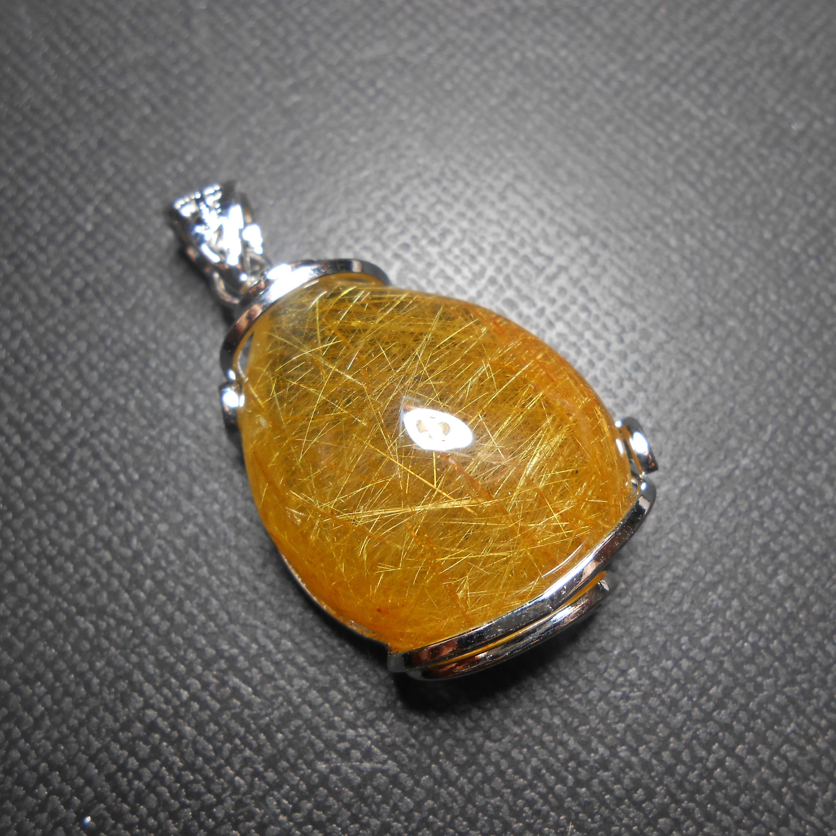 จี้แก้วไหมทอง เส้นสวย แก้วน้ำงาม ขนาด2.8x 2.3mm