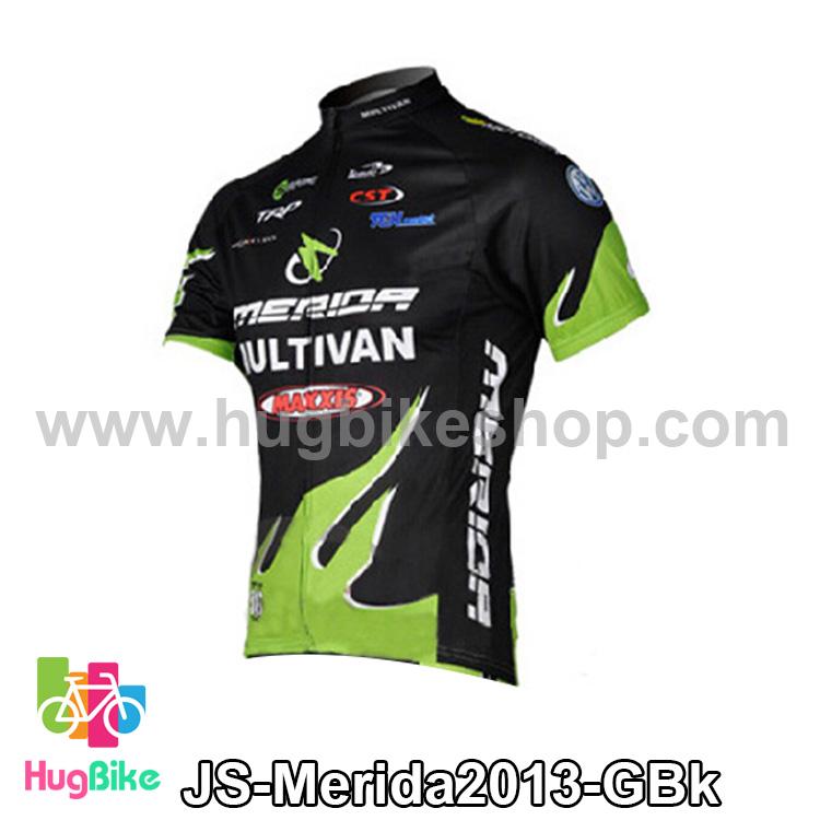เสื้อจักรยานแขนสั้นทีม Merida 2013 สีดำเขียวเพลิงด้านล่าง สั่งจอง (Pre-order)