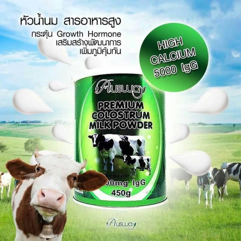 นมผงเพิ่มความสูง Ausway Premuim Colostrum Powder 5000 IgG + Calcium 1600 mg.