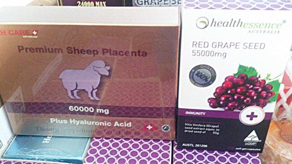Red Grape Seed 55,000 mg1ปุก 100 เม็ด +รกแกะ 60000 mg. 1 กล่อง 120 เม็ด ผิวขาวใส ลดริ้วรอย ลดฝ้า ลดกระ ได้เร็วมาก