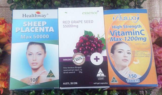 รกแกะ50,000mg. 30 เม็ด + healthessence greapeseed 55,000 mg. 30 เม็ด+ ออสเวย์ vit c max 30 เม็ด