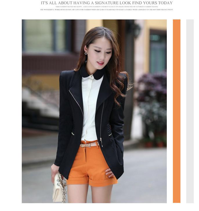 เวอร์ชั่นเกาหลี เสื้อแจ็คเก็ต ซิป แขนยาว สีดำ เสื้อคลุม