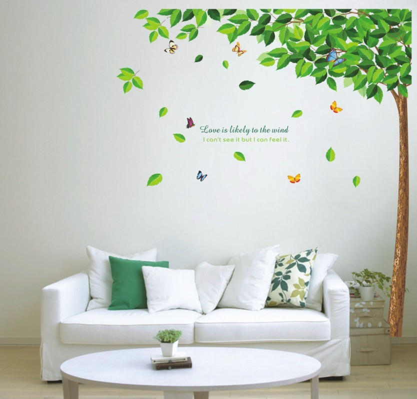 "Wall sticker ตกแต่งผนัง หมวดต้นไม้ ""Love is likely to the wind"" ความสูง 165 cm กว้าง 120 cm"