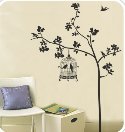 "Wall Sticker สติ๊กเกอร์ตกแต่งผนัง หมวดต้นไม้ ""กรงนกสีดำกับนกคู่"" ความสูง 190 cm กว้าง 130 cm"