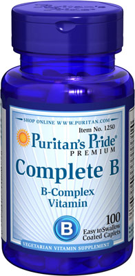 บำรุงประสาท และผิวพรรณ Puritan's Pride Vitamin B Complex ขนาด 100 เม็ด