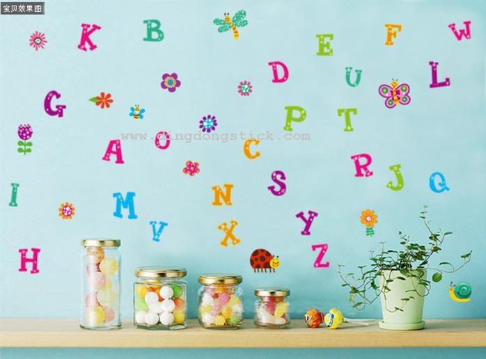 """สติ๊กเกอร์ติดผนัง สำหรับห้องเด็ก """"Cute Alphabet III ABC"""" ความสูง 100 cm กว้าง 150 cm"""