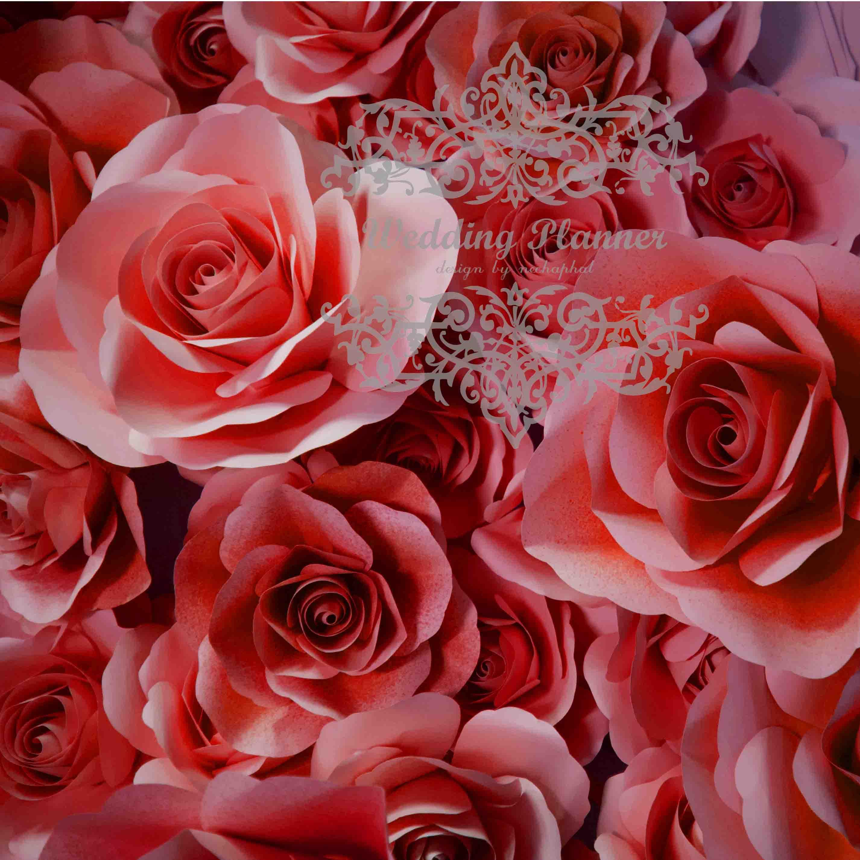 ดอกไม้กระดาษโทนสีแดงสด - flower paper backdrop - ขนาด 30 cm