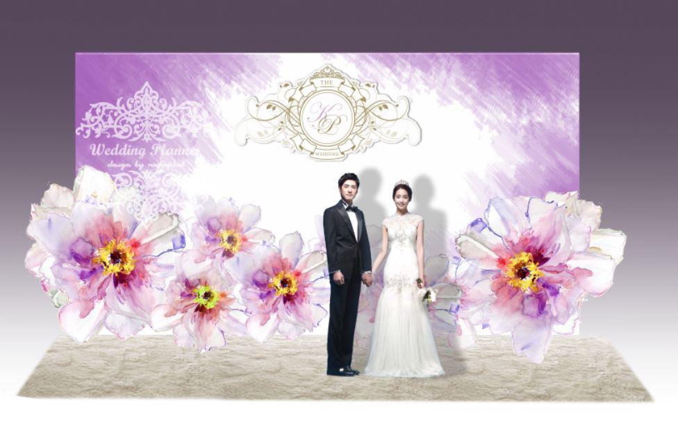 backdropงานแต่งงาน - inkjet backdrop wedding ดอกไม้สีม่วง