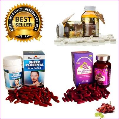 biosis Red Grape Seed 38,000 mg1ปุก+รกแกะ50,000 mg.1 ปุก 100 เม็ด+นมผึ้งรอยัลบี 30 เม็ด