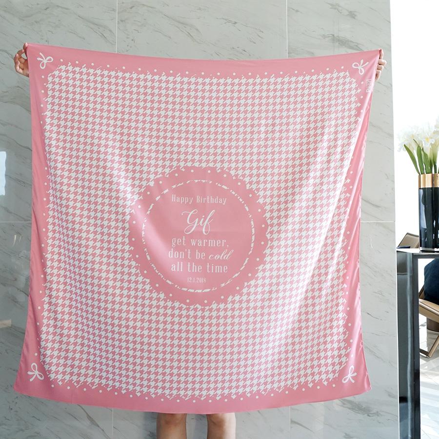 ผ้าพันคอ ลาย Houndstooth - Pink