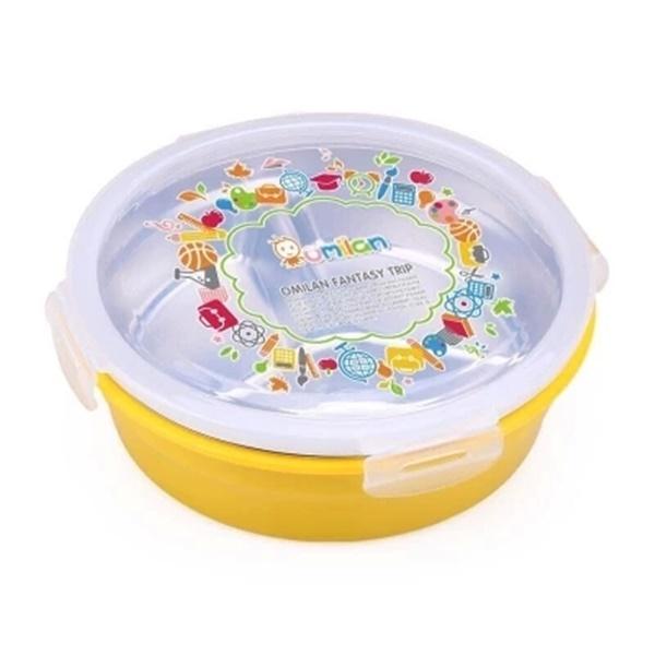 Pre-Order กล่องข้าว 3 ช่อง มี 2 ชั้น ทำจากพลาสติกและสแตนเลส กล่องอาหารกลางวัน กล่องเบ็นโตะ สีเหลือง
