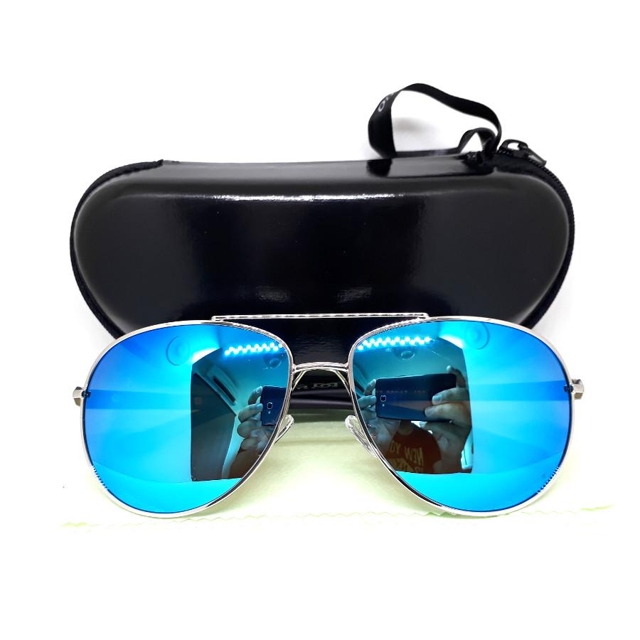 แว่นกันแดด แฟชั่น กรอบสีเงิน เลนส์ ปรอทสีน้ำเงิน สวยหรู รุ่น POLI สำเนา