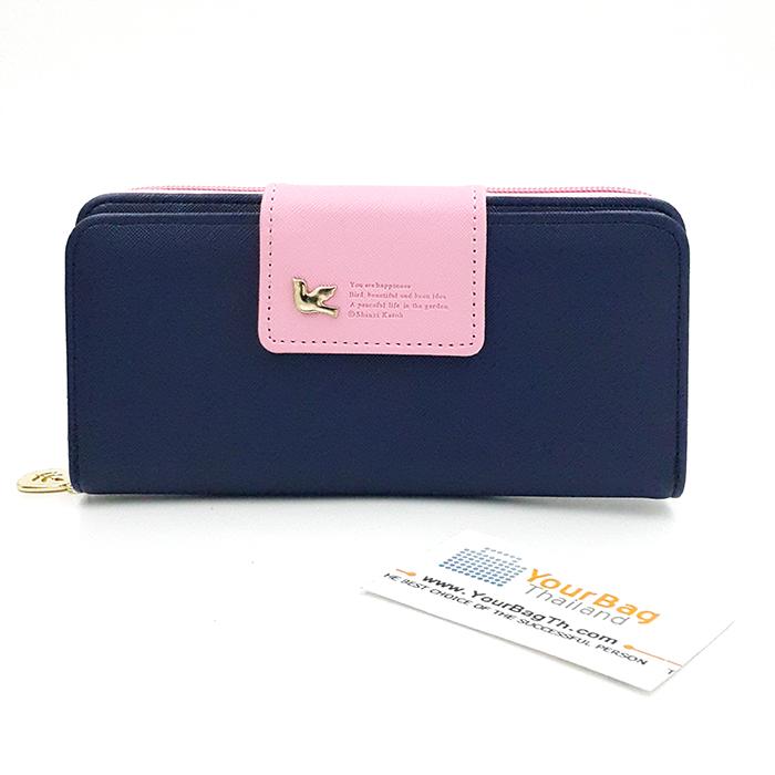 กระเป๋าสตางค์ผู้หญิง ทรงยาว รุ่น Cheer upl - NAVY/Pink