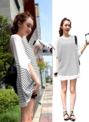เสื้อยืดแฟชั่นเกาหลี ทรงปีกค้างคาวลายริ้ว แขนเสื้อชีฟอง-1073-สีขาว