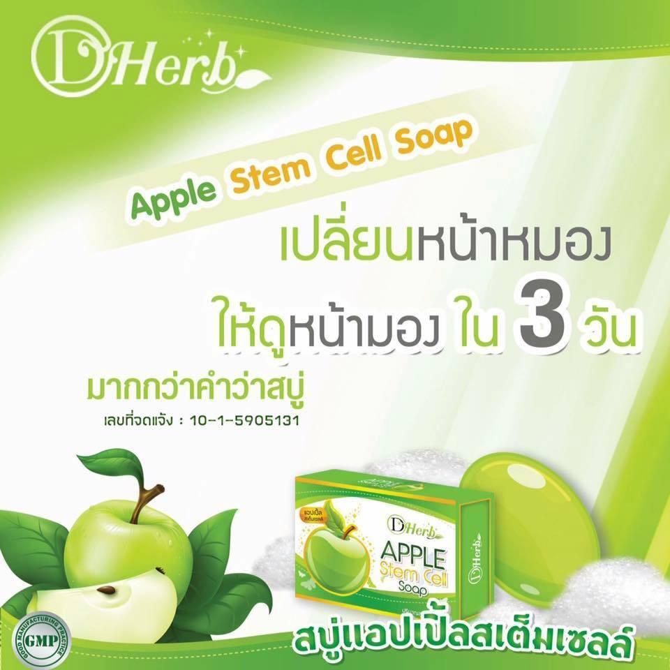 D Herb APPLE Stem Cell Soap ดี เฮิร์บ สบู่แอปเปิ้ลสเต็มเซลล์ เปลี่ยนหน้าหมอง ให้ดูหน้ามอง ใน 3 วัน