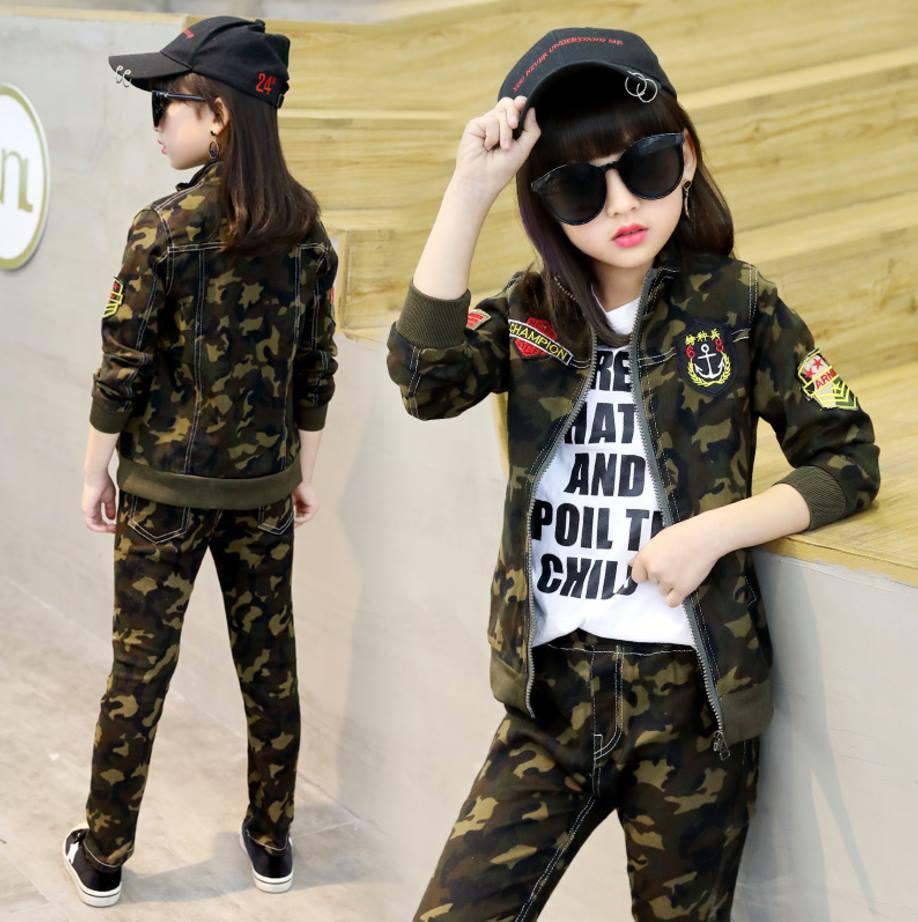 ชุดเสื้อแจ๊คเก็ตแขนยาว+กางเกงขายาวลายทหาร