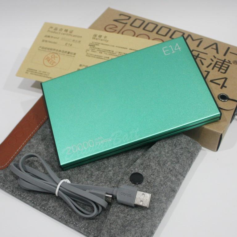 พาวเวอร์แบงค์ eloop e14,แบตสำรอง eloop e14,powerbank 20000mah ของแท้ 100% (สีเขียว)
