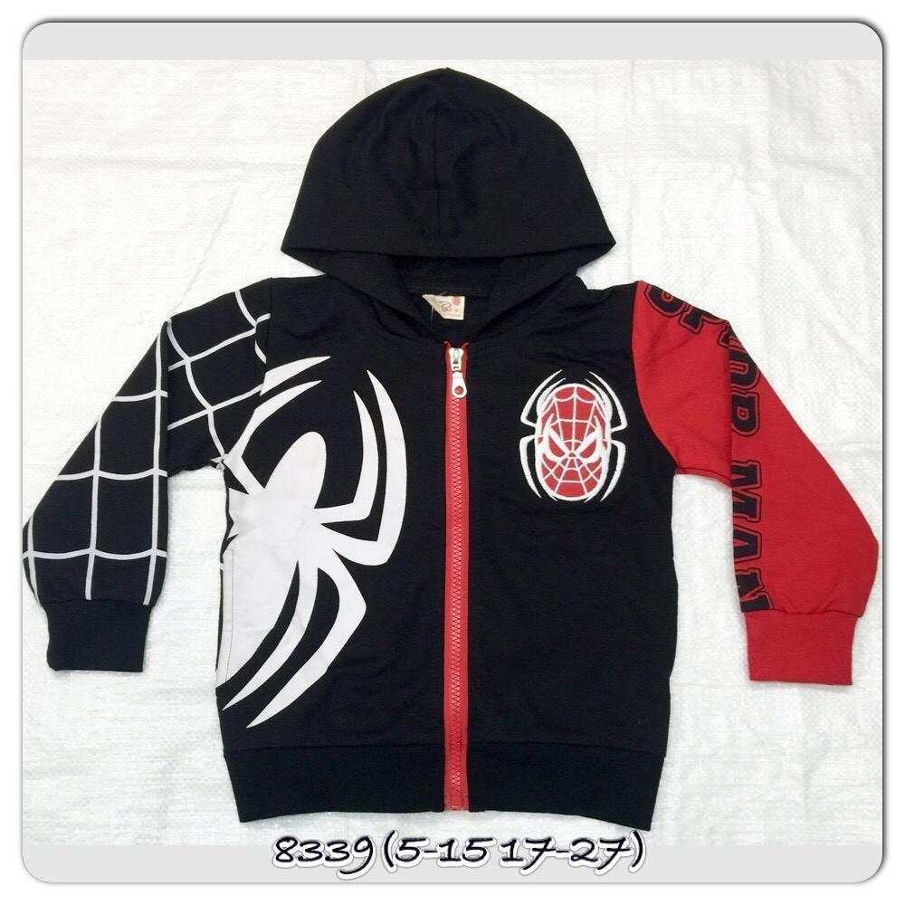 เสื้อแจ็คเก็ตชาย สไปรเดอร์แมนสีดำมีฮู้ดพิมลายแมงมุมขาว