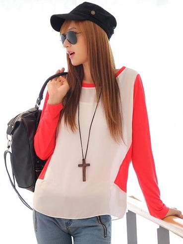 เสื้อยืด แขนยาว คอกลม เสื้อสีขาวแขนสีแดง รหัส 44109-แดง