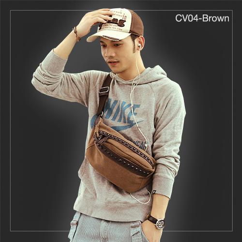 CV04-Brown กระเป๋าคาดอก กระเป๋าคาดเอว ผ้าแคนวาส สีน้ำตาล