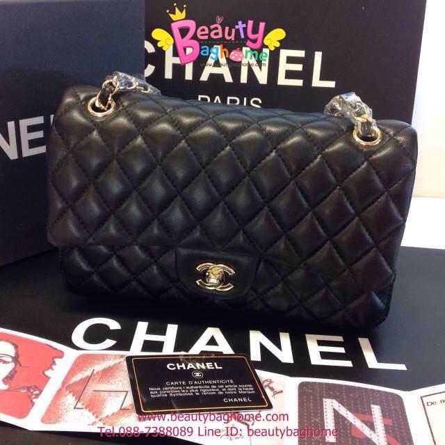 Chanel classic 10นิ้ว สีดำ หนังLampskin