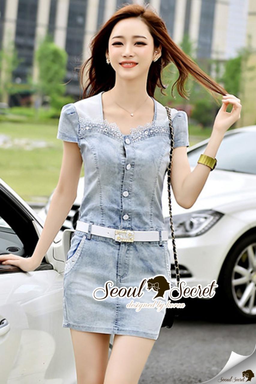 Seoul Secret Say's... Diamond Crystal Furnish Denim Dress