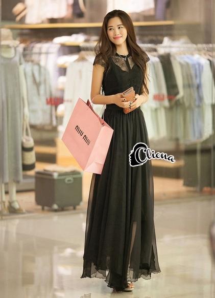 Cliona made'Princess Miyakey Luxury Dress B&W สีดำ
