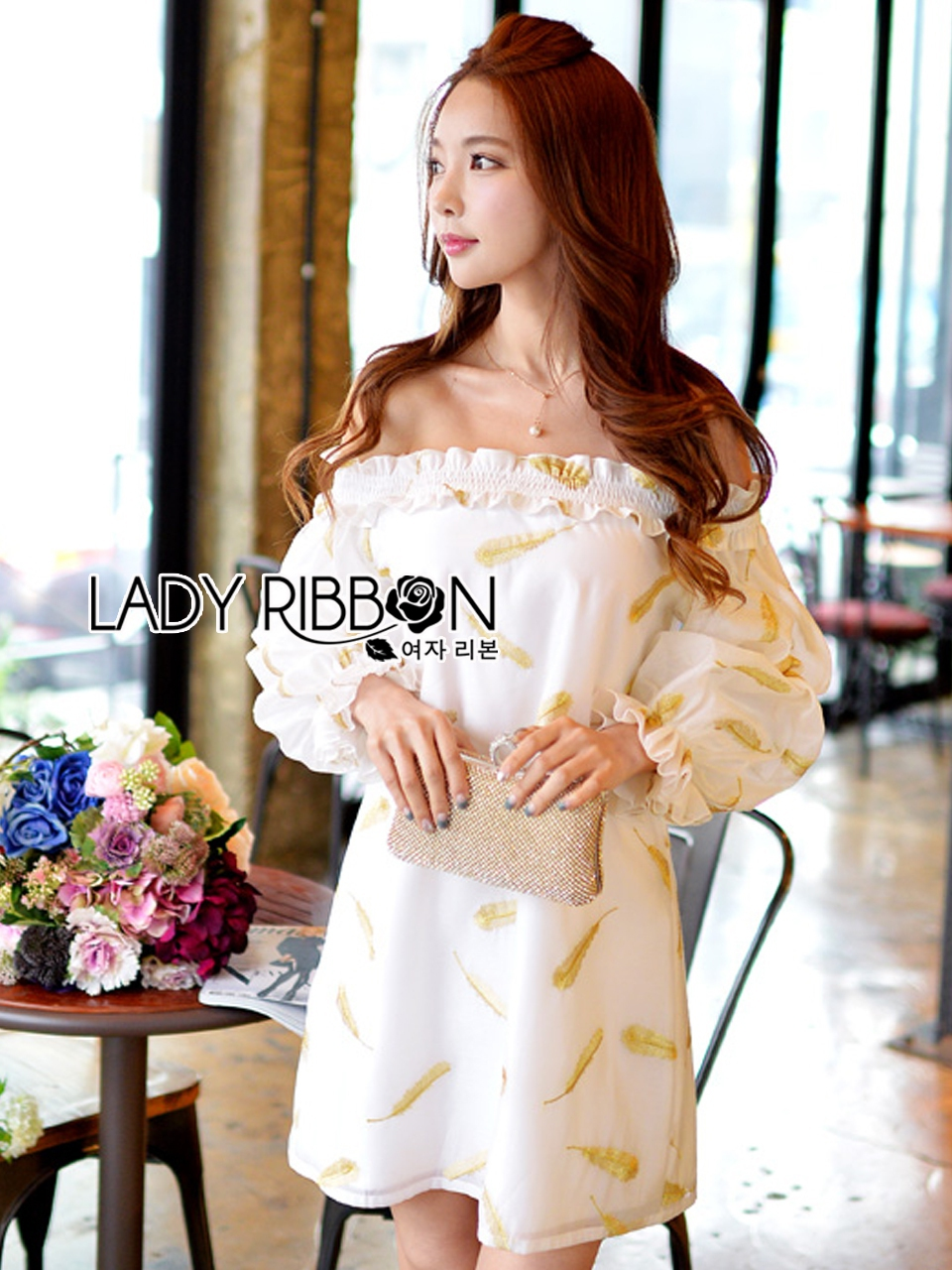 Lady Ashley Emy Summery Off-Shoulder Gold Feather Embroidered Organza Dress
