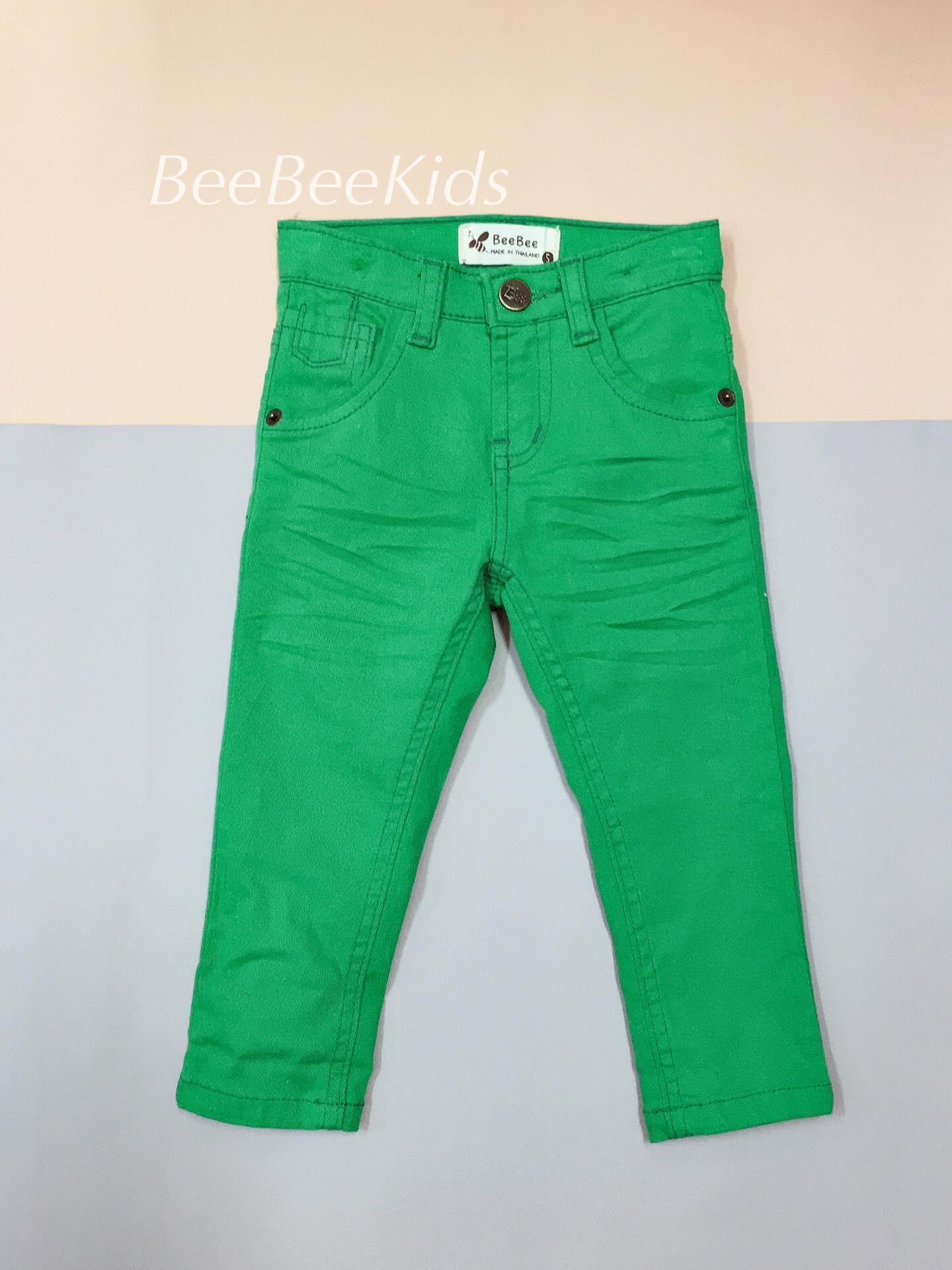 กางเกงยีน ขายาว สีเขียว (S M L)