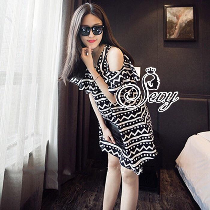 Sevy Geometric Striped Contrast Cut Shoulder Mini Dress